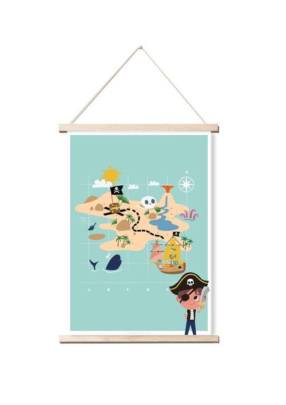 Affiche Enfant Avec Illustration Carte Pirate Idee Deco Pour Une