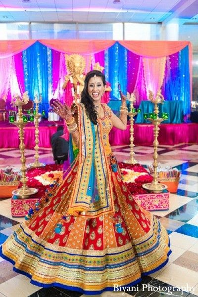Colorful sangeet attire to make the wedding function look apart! http://www.shaadiekhas.com/blog-wedding-planning-invitation-wordings/dress-for-the-occasion/