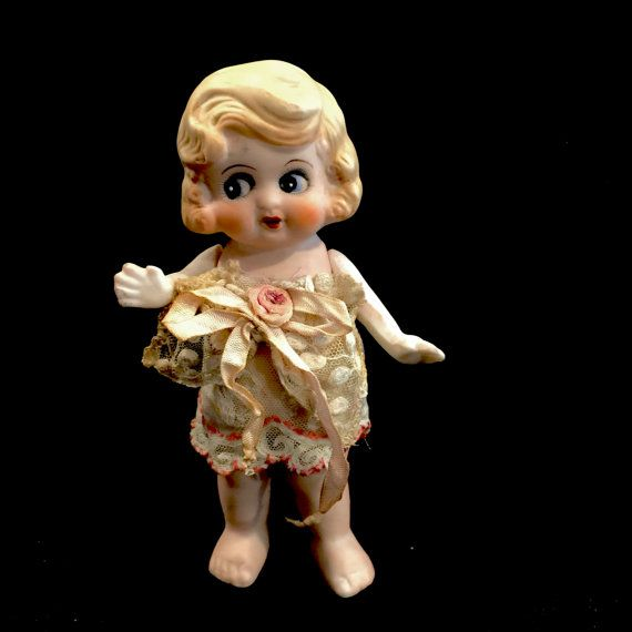 Vintage Bisque Porcelain Doll, Antique Kewpie, Flapper doll, Google Eyes, Hand Painted, Jointed Arms, 7 inch standing, Japan, 1920s