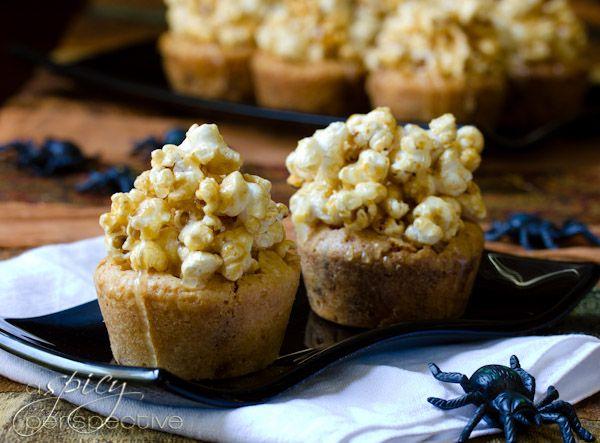 Carmel Corn Blondies Recipe   ASpicyPerspective.com #caramel #popcorn ...