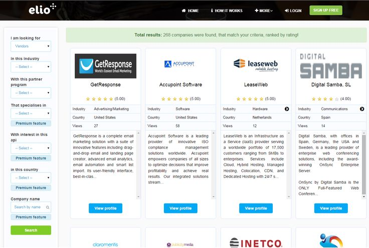 Search results. Discover great partnership opportunities in software and SaaS industries. We are connecting Vendors with Resellers according to 16 partnership criteria.https://elioplus.com
