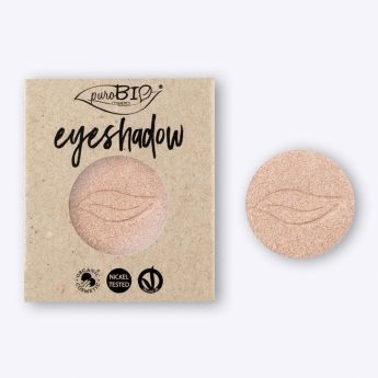 Recarga de sombra de ojos Champán PUROBIO. Recarga magnética para envase principal. Maquillaje profesional. Textura irisada y brillante. Libre de níquel. Apto para veganos. #CosmeticaNatural #Eyeshadow #MaquillajeNatural #Purobio #Vegano #Crueltyfree