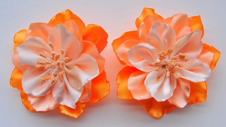 Цветы из лент своими руками / Ribbon Flower Tutorial / ✿ NataliDoma