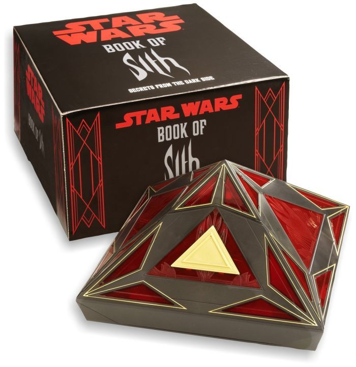 The black-and-red pyramid-shaped Sith case appears innocuous. But with the touch of a button, the door of the case lifts, accompanied by lights and Star Wars sound effects. The secrets within are revealed—the Book of Sith slides into view.