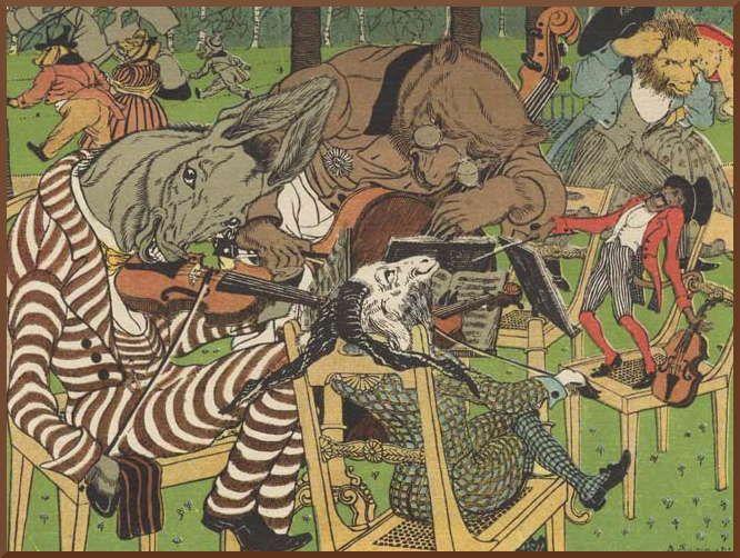"Vasily Timorev (1870-1942) – illustration to the ""Quartet"" fable by Ivan Krylov."