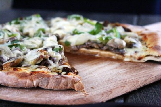 philly cheese steak pizza.