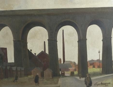 ROGER HAMPSON (1925 - 1996) OIL PAINTING ON BOARD `Accrington Viaduct` Signed lower right, title