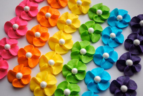 Royal Icing Flower Cupcake Toppers Rainbow by cupcakesbychristy, $12.00