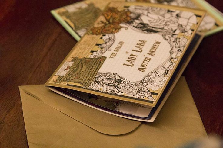 hand made invites designed by Julie Fearns Pheasant. A little picture book and story.
