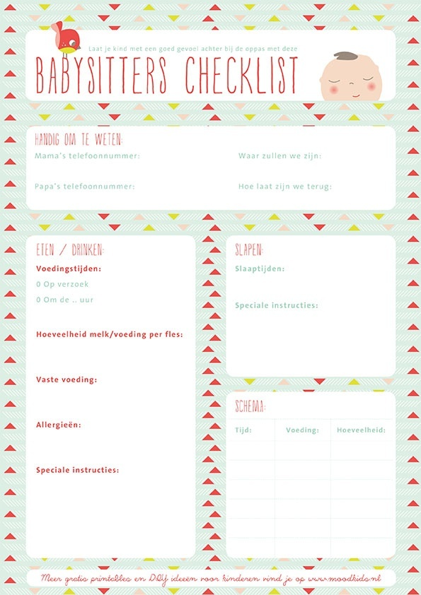 It is a graphic of Exceptional Babysitter Checklist Printable