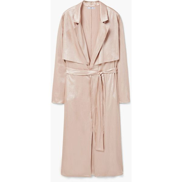 Metalic Trench (€35) ❤ liked on Polyvore featuring outerwear, coats, pink bow coat, bow coat, metal coat, mango coat and long sleeve coat