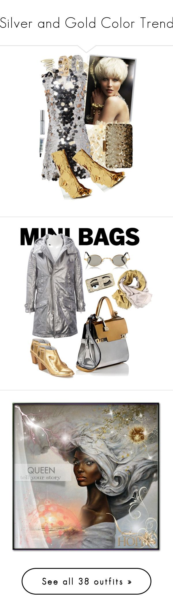 """""""Silver and Gold Color Trend"""" by yours-styling-best-friend ❤ liked on Polyvore featuring Miu Miu, NEXTE Jewelry, Tiffany & Co., Maison Margiela, Urban Decay, NYX, Oscar de la Renta, Diesel Black Gold, Miista and Roberi & Fraud"""