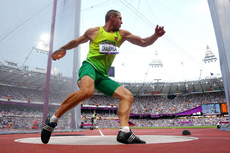 Darius Draudvila of Lithuania competes during the Men's Decathlon Discus Throw on Day 13 of the London 2012 Olympic Games at Olympic Stadium on August 9, 2012 in London, England. -