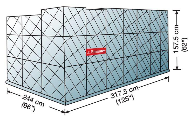 PMC Passenger & Freighter    Volume: 10.9 cubit metres   Standard Tare Weight: 110 kg (including net)   Max Gross Weight: 6,804 kg