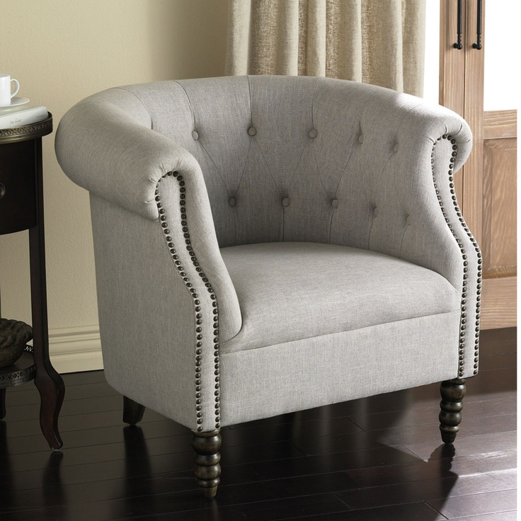 Bon Product Detail : Linen Tufted Tub Chair