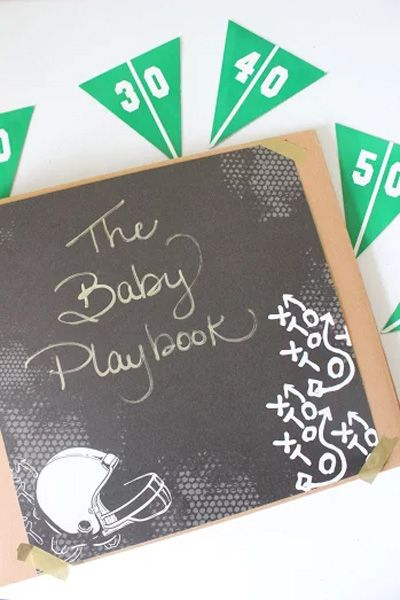 Make you own DIY Baby Playbook for a football-themed baby shower! // www.babyshower.com @MelissacCreates
