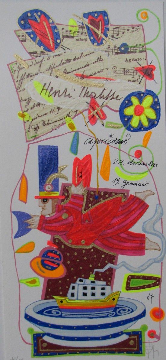 Capricorno, Francesco Musante, Serigrafia polimaterica #gliartistidiGALP #nelsegnodiGALP