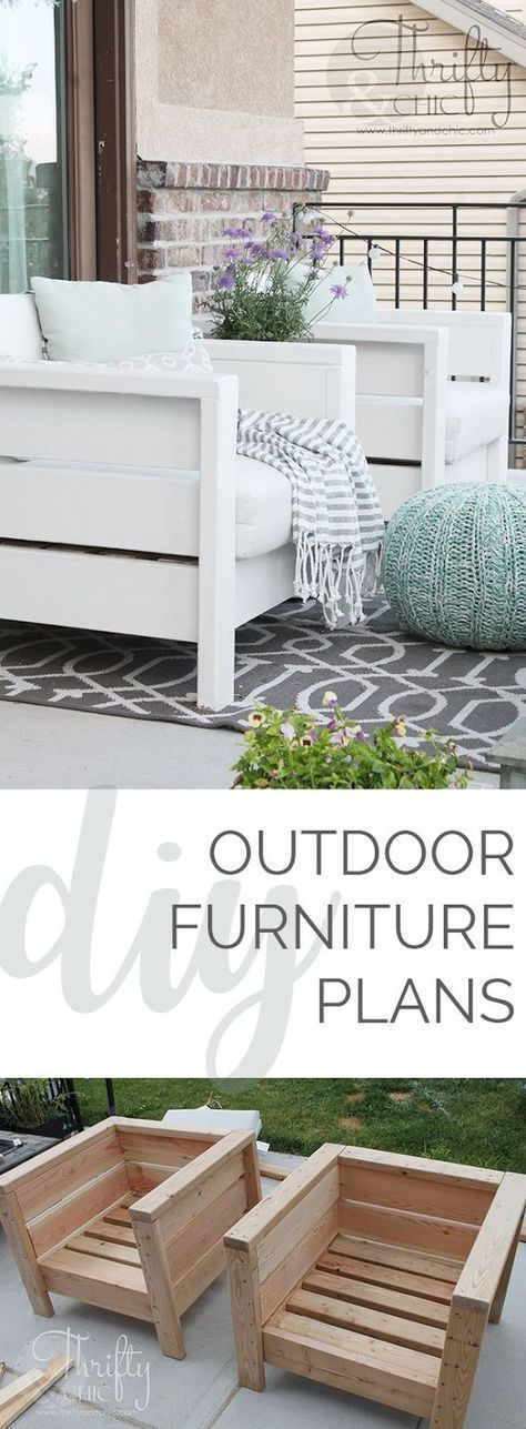 DIY outdoor porch or patio furniture. Learn how to make these chairs for about $...