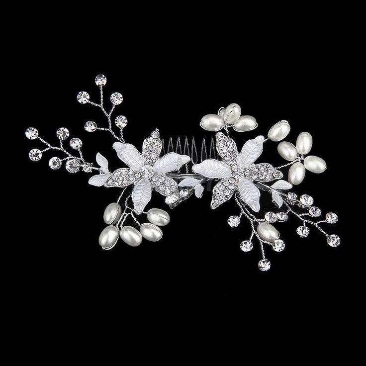 Bridal Bridesmaid Wedding Pearl Flower Crystal Rhinestone Tiara Hair Comb Pin