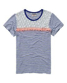 Stipes, palm trees and lace all together in one shirt