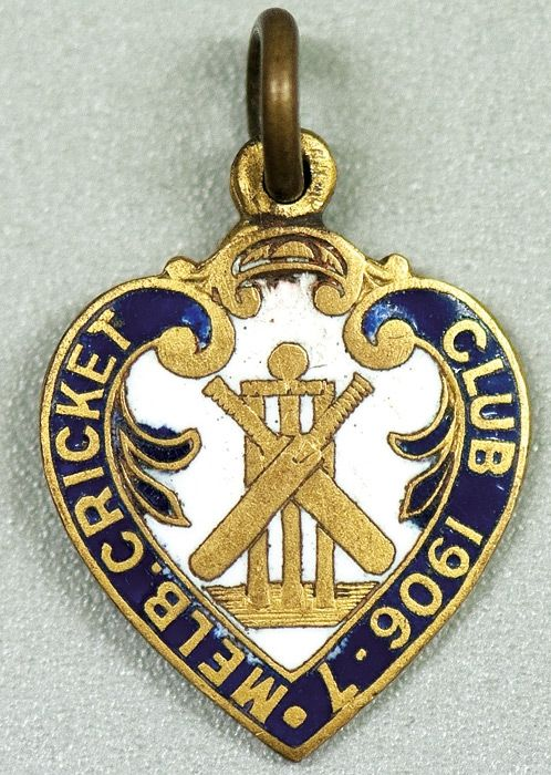 MELBOURNE CRICKET CLUB, 1906-7 membership badge, made by Stokes & Sons, No.2166.