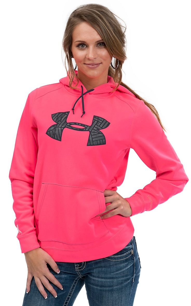 under armour women. under armour® women\u0027s neon pink with grey logo tackle twill hoodie armour women
