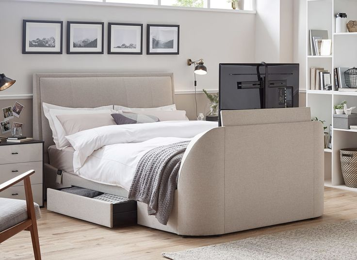Our Alexander TV bed frame in slate grey or oatmeal fabric with a brand new TV included is perfect for the style conscious.