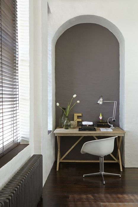 grey study in alcove paint by little green old school radiator