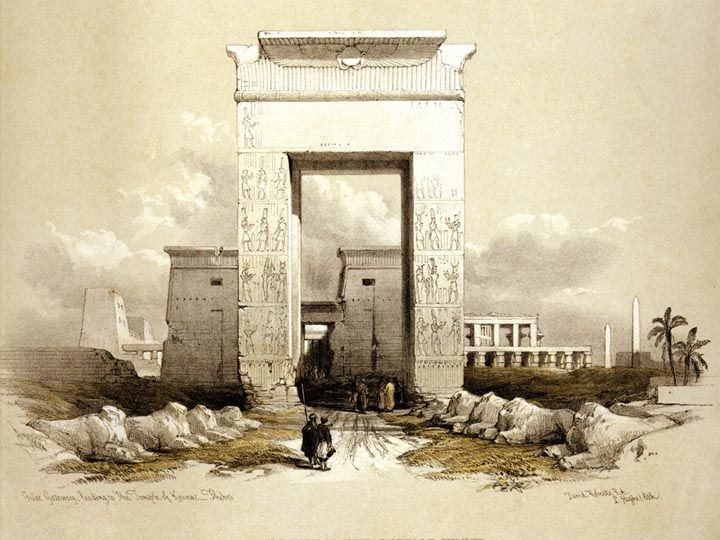 Great Gateway leading to the Temple of Karnac by David Roberts -1842