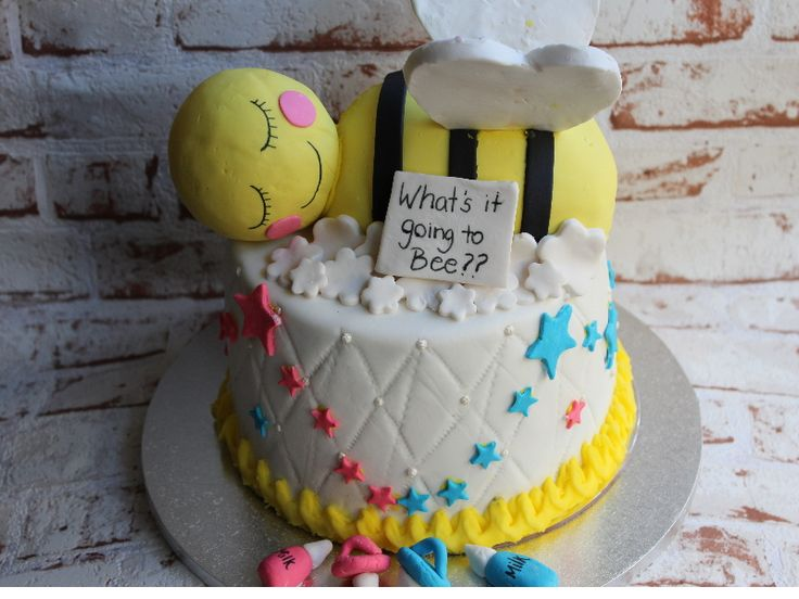 'what's it going to be' baby shower cake