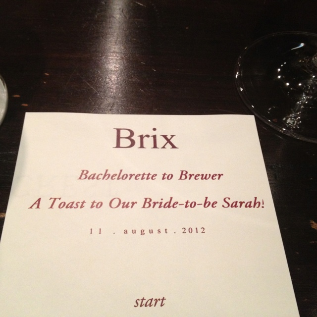 Brix menu for my bachelorette dinner!! Too cute!! :)