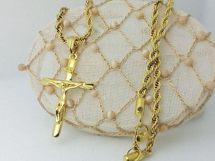 Collana Ciondolo Oro Croce Crocifisso con cristo Uomo Donna Gioielli Unisex