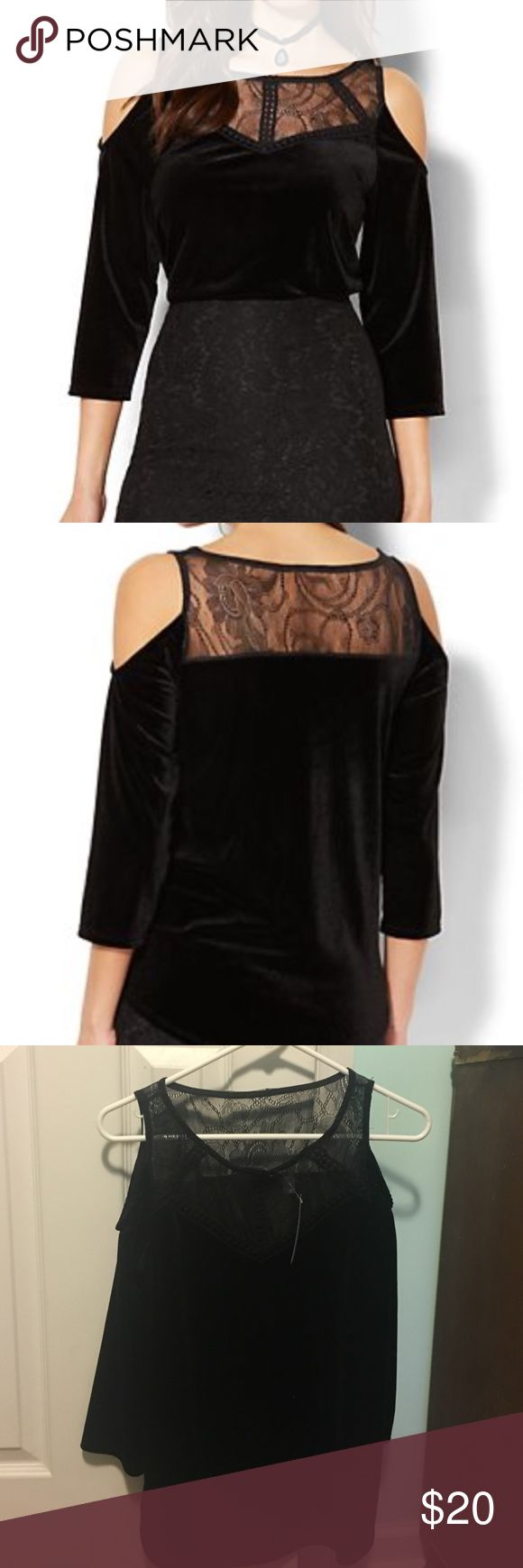 Cold Shoulder Velvet Top Black cold shoulder top with tags. Never been worn. New York & Company Tops Blouses