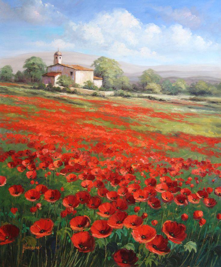 Mohnfelder im Licht der Provence - Gemälde, Öl auf Leinwand | www.ute-herrmann-kunstmalerin.de