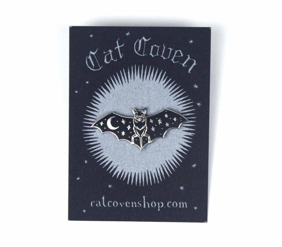 This listing is for one high quality hard enamel lapel pin with silver colored metal. The back has two pins, one on each wing to ensure it doesnt fall off. Each have a rubber clasp.  Paper backing was hand printed by the artist.  About 1.75 inches wide (wingspan).