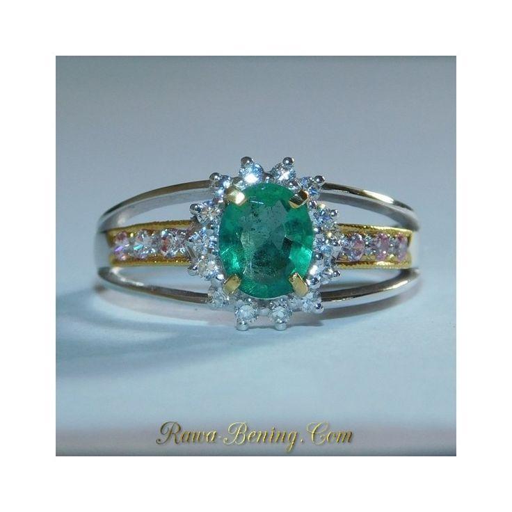 Jual Cincin Zamrud untuk Wanita Silver 925 Ring 7.5 US Elegant Style