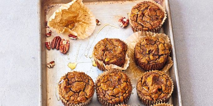 """Robyn Youkilis from Go With Your Gut created these Pumpkin Muffins because she needed a go-to healthy muffin recipe! Robyn says """"I suggest making a big batch of them, storing them in the freezer and then thawing as needed"""". Sounds like a plan!"""
