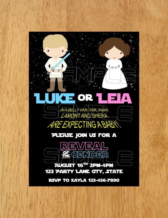 Star Wars Gender Reveal Invitation Star Wars by MunchDoodles