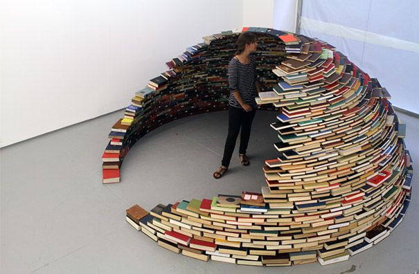 Book Igloo-Colombian artist Miler Lagos constructed this entirely self-supporting book igloo using nothing more than carefully aligned books. Titled 'Home', this dome-like installation was on display at MagnanMetz Gallery in New York City late last year.