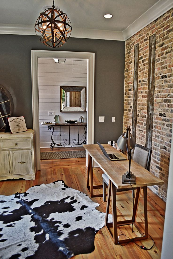 Office With Exposed Brick Wall Iron Point Homes Pinteres