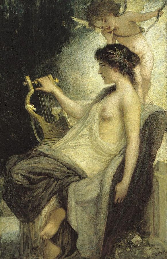 Károly Lotz (Hungarian, 1833-1904) – Muse, c.1890s (Oil on canvas. Hungarian National Gallery, Budapest) - - Lotz came to study at the school of Karl Heinrich Rahl in Vienna after student years in the private school of Jakab Marastoni and the workshop of Henrik Weber in 1852. As a talented pupil he was quickly given the opportunity to take part in the execution of Rahl's monumental fresco commissions…
