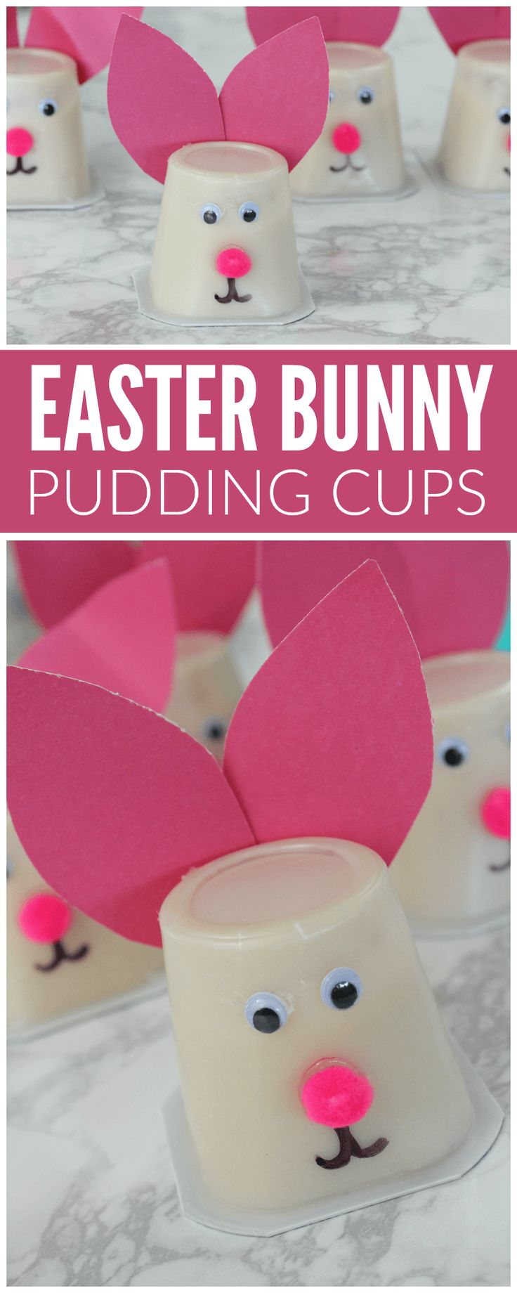 Easter Bunny Pudding Cups -super easy to make and super adorable!