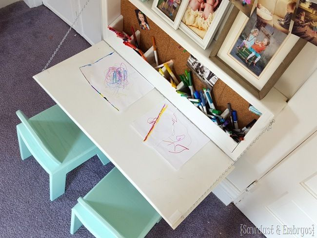 Fold-down Children's table with storage inside, and a chalkboard on the outside! {Sawdust and Embryos}