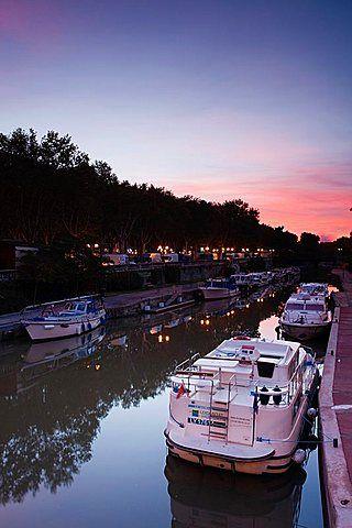 France, Languedoc-Roussillon, Aude Department, Narbonne, Canal de la Robine by…
