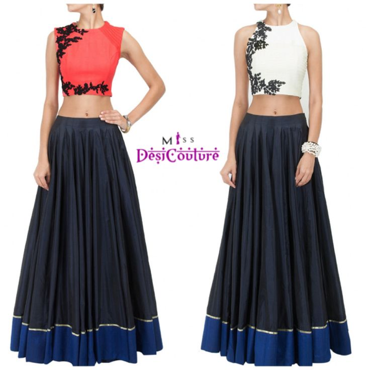 Beautiful two piece crop top and lehenga choli. Simple but chic. Colour : White and pink Composition : Raw silk Set : Blouse & Lehenga **Blouse is of premium quality For details or inquiries please email us at miss.desi.couture@gmail.com