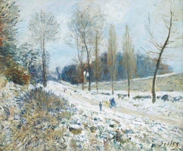 Huile sur toile, peinte en 1876 - Dimensions : 46 x 55,5 cm - Durant l'hiver 1875-76, Claude Monet s'établit avec sa famille à Marly-le-Roi. L'artiste sillonne les lieux largement pour l...