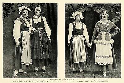1925 Print Portrait Finnish Women Osterbotten Aland Islands Costume Fashion Wear