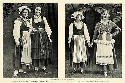 1925 Print Portrait Finnish Women Osterbotten Aland Islands Costume Fashion Wear