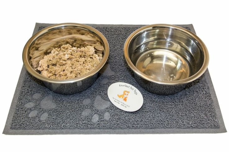 Anti-Slip Mat Feeding Station w Silver Bowls for Small Animals