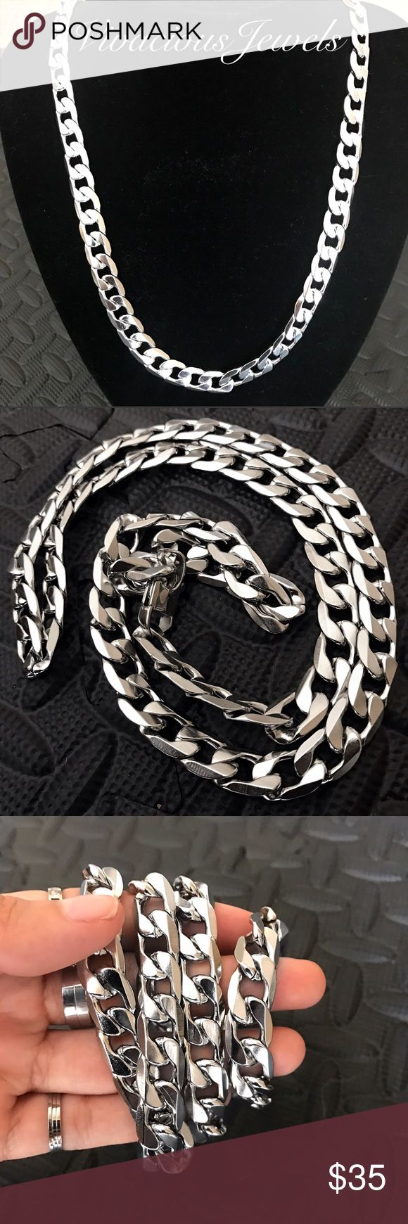 "12MM Stainless Steel Flat Cuban Chain Necklace Brand new Price firm No trades Gift box included  Metal: Stainless steel Color: Silver Width: 12mm  Chain lengths 30"" or 36""  Stainless steel does not rust or turn the skin green Accessories Jewelry"